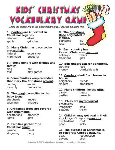 themed areas synonym christmas synonyms worksheet wiildcreative