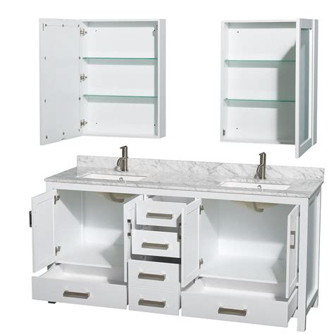 Bathroom Vanities Two Sinks Sheffield 72 Inch Sink Bathroom Vanity White Finish Set By Wyndham Collection
