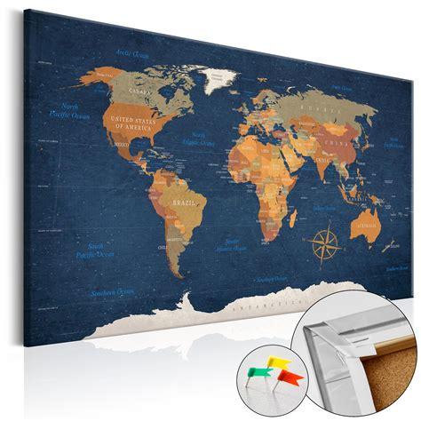 kork pinnwand streichen kork pinnwand weltkarte wandbilder landkarte leinwand