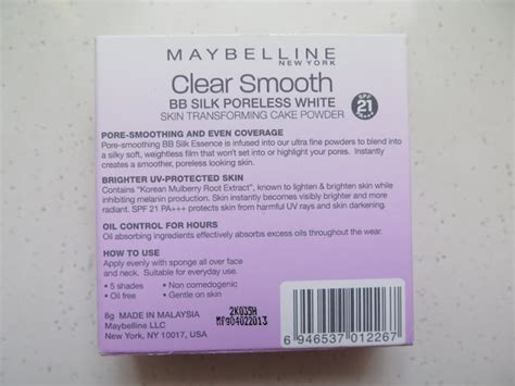 Maybeline Clear Smooth Bb Silk Cake Powder Poreless White the blackmentos box review maybelline clear