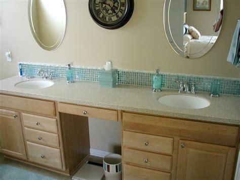 Glass tile backsplash traditional bathroom cleveland