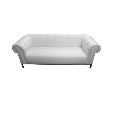 white tufted rolled arm sofa event decor rentals
