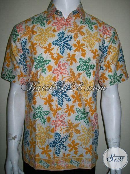 Batik Hem Anak Sabrina Daun kemeja batik pria motif daun pepaya warna dasar putih