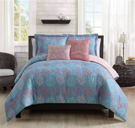 blue and coral bedding 9 piece venice beach blue coral comforter set