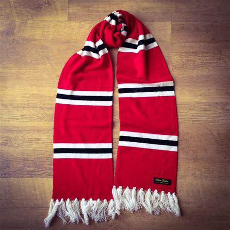 manchester united luxury merino wool striped football scarf