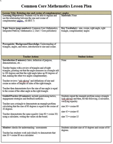 lesson plan template for math common lesson plan template peerpex