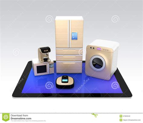 smart kitchen appliances smart kitchen appliances on tablet pc stock photo image