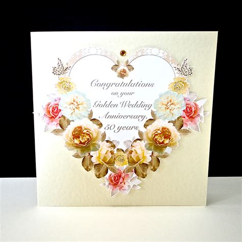golden wedding cards to make antique floral golden wedding anniversary card