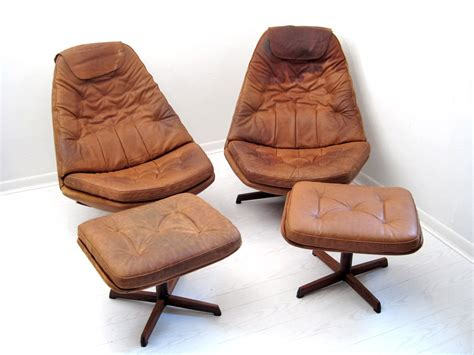Pair Mid Century Danish Leather Recliners With Ottomans