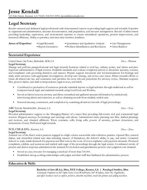 legal resumes legal secretary resume sle law