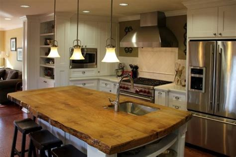 Wood Kitchen Island Top | 15 stylish wood furniture and features with natural edge