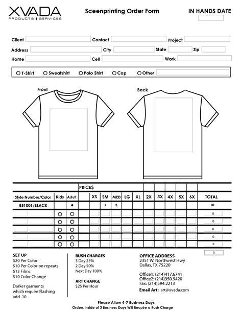 T Shirt Order Form Template   http://webdesign14.com/