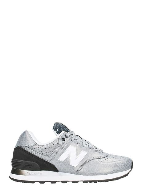 new balance leather sneakers new balance new balance 574 silver black leather
