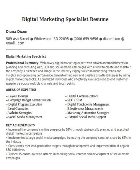 Digital Marketing Specialist Sle Resume by 30 Simple Marketing Resume Templates Pdf Doc Free Premium Templates