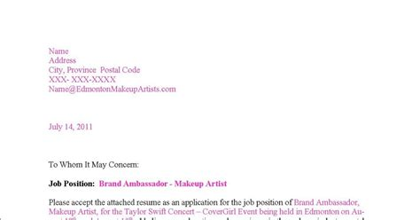 demo cover letter edmonton makeup artists makeup artist resume