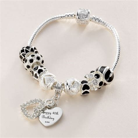 charming bead shop charm bead bracelet in black with engraved charm jewels