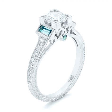 custom aquamarine and engagement ring 102862