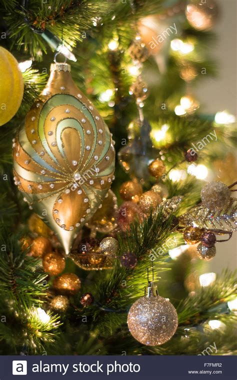 exquisite christmas ornaments beautiful ornaments are hung on an tree stock photo royalty free