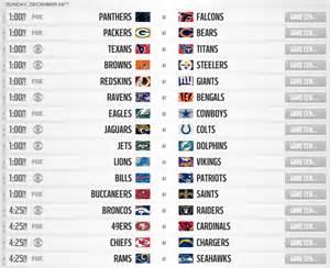 2013 nfl regular season schedule complete week 17 slate of games