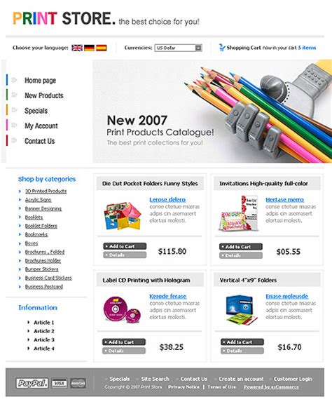 readymade templates for asp net template 15413 print store oscommerce template