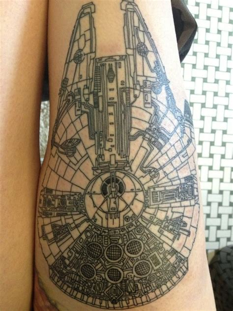 starship tattoo oh my god the details millennium falcon ink