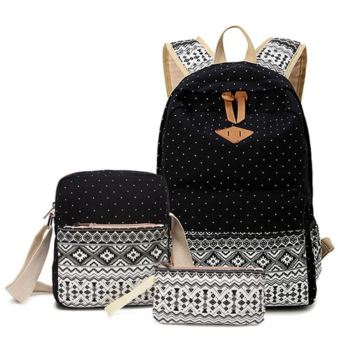 Set Tribal Biru 3in1 sunborls brand stylish canvas printing backpack school bags for bookbag