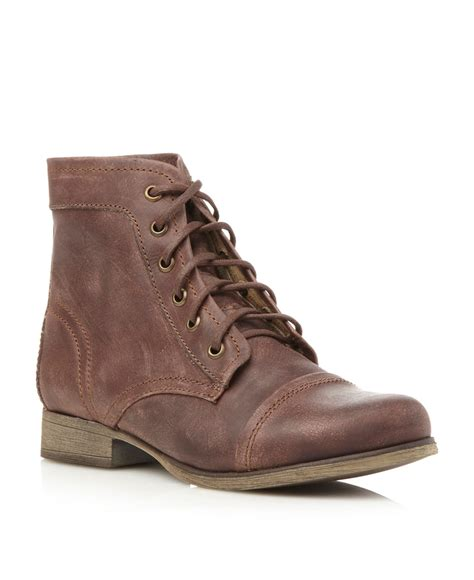 madden boots brown steve madden thunderr lace up worker boots in brown for