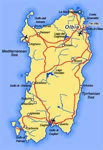Sardinia Italy Map by Sardinia Italy On The Tyrrhenian Sea