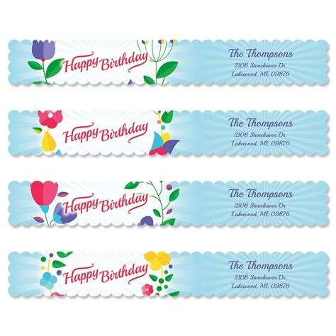 colorful images address labels cheerful blooms connect wrap diecut address labels