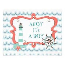 Ahoy It S A Boy Ahoy It S A Boy Nautical Baby Shower Invitation 4 25 Quot X 5 5 Quot Invitation Card Zazzle