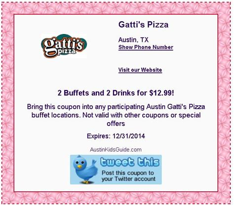 Mr Gattis Buffet Coupons Unexpectedly Expecting Baby Mr Gatti S Coupons 1 Topping