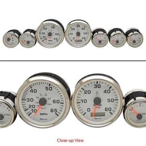 boat gauges set uk faria custom silver white marine inboard only boat gauge