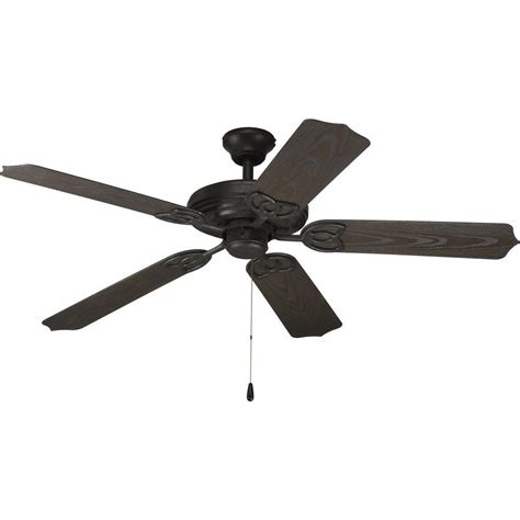 Black Outdoor Ceiling Fan With Light Progress Lighting Airpro 52 In Forged Black Indoor Outdoor Ceiling Fan P2502 80 The Home Depot