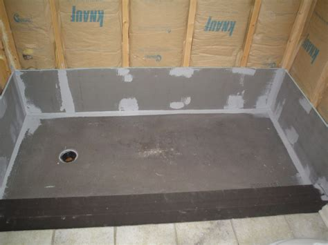 bathtub wall installation wedi waterproof pan and curb before new decorative wall