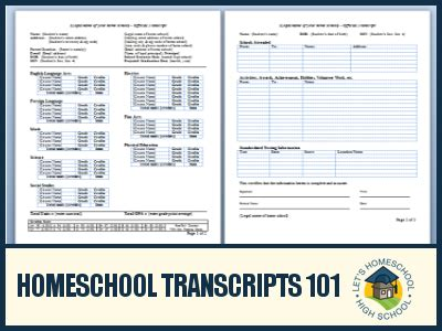 homeschool transcript template homeschooling homeschool transcripts
