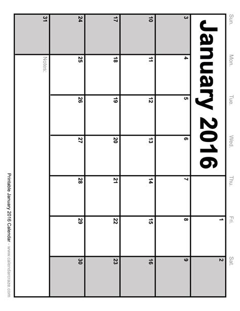 printable calendar 8 x 11 january 2016 calendar printable 8 x 11 calendar template