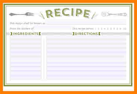 Word Card Editable Template by 5 Free Editable Recipe Card Templates For Microsoft Word