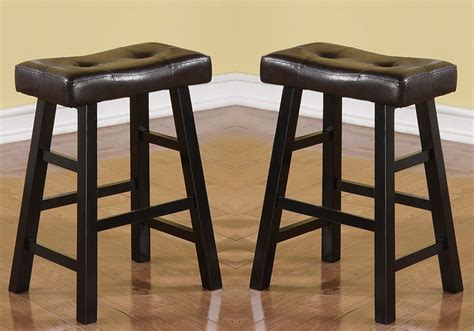 Black Bar Stool Cushions by Set Of 2 Brown Faux Leather Seat Cushion Black Solid Wood