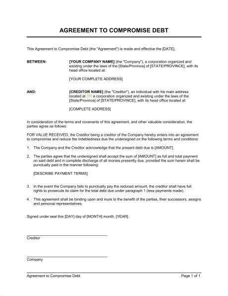 Compromise Agreement Letter Exle Agreement To Compromise Debt Template Sle Form Biztree