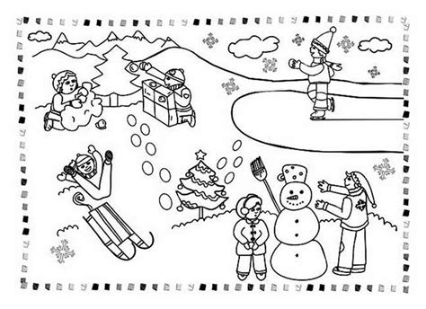 Coloring Pages Of Winter Activities | winter all kind outdoor activities coloring page 607741