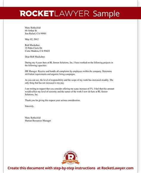 Pay Raise Request Letter Exles Salary Increase Letter Asking For A Raise Rocket Lawyer