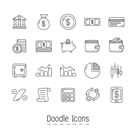 free editing doodle doodle financial icons vector free