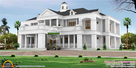pillar type sloping roof colonial home plan kerala home