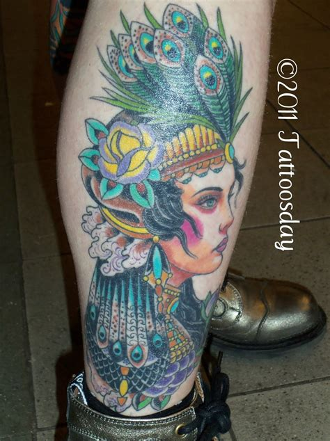 gypsy head tattoo gipsy wearing peacock feather crown tattoomagz
