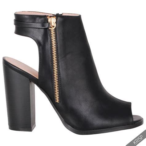 peep toe high heel boots womens fashion cut open peep toe shoes block high heel