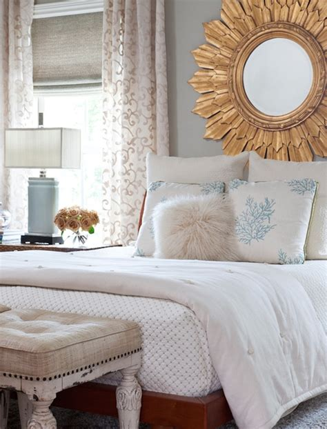Mirror Decor In Bedroom by Gold Sunburst Mirror Transitional Bedroom Benjamin