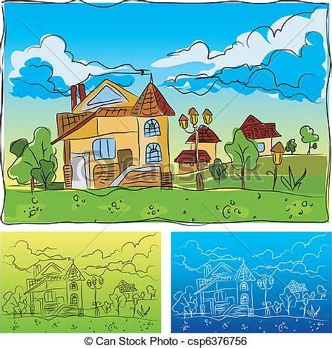 Clip Art Vector Of Kindergarten Landscape With The House Children S Drawing Csp6376756 Drawing Pictures For Kindergarten