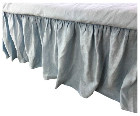 linen bed skirt blue linen bed skirt full 24 quot drop bedskirts by