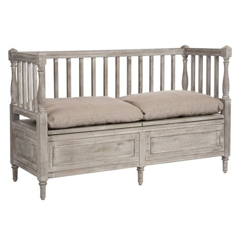 french storage bench damita french country weathered grey storage bench sofa
