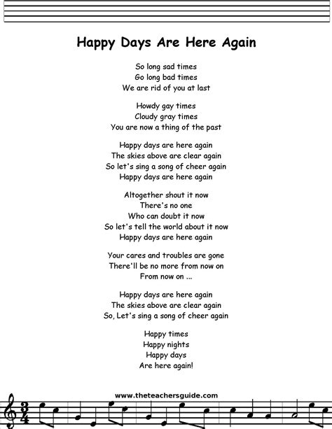 days lyrics happy days are here again lyrics printout midi and